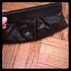 Lauren Merkin black leather GUC clutch